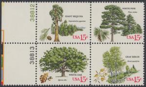 USA Michel 1364-1367 / Scott 1764-1767 postfrisch BLOCK RÄNDER links m/ Platten-# 38810 - Jahrestagung des Verbands amerikanischer Förster: Bäume