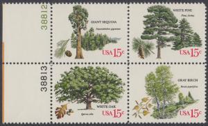 USA Michel 1364-1367 / Scott 1764-1767 postfrisch BLOCK RÄNDER links m/ Platten-# 38808 - Jahrestagung des Verbands amerikanischer Förster: Bäume