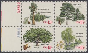 USA Michel 1364-1367 / Scott 1764-1767 postfrisch BLOCK RÄNDER links m/ Platten-# 38812 - Jahrestagung des Verbands amerikanischer Förster: Bäume