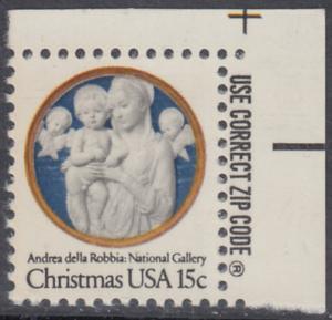 USA Michel 1368 / Scott 1768 postfrisch EINZELMARKE ECKRAND oben rechts m/ ZIP-Emblem - Weihnachten: Madonna und Kind