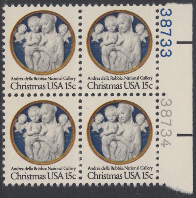 USA Michel 1368 / Scott 1768 postfrisch BLOCK RÄNDER rechts m/ Platten-# 38733 - Weihnachten: Madonna und Kind 0