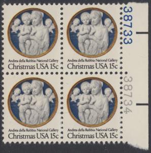 USA Michel 1368 / Scott 1768 postfrisch BLOCK RÄNDER rechts m/ Platten-# 38733 - Weihnachten: Madonna und Kind