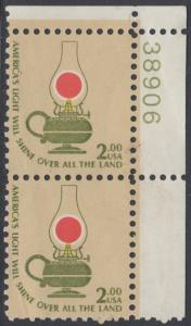 USA Michel 1370 / Scott 1611 postfrisch vert.PAAR ECKRAND oben rechts m/ Platten-# 38906 - Americana-Ausgabe: Kerosinlampe