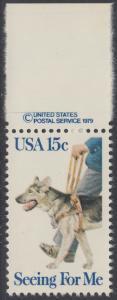 USA Michel 1390 / Scott 1787 postfrisch EINZELMARKE RAND oben m/ copyright symbol - Blindenhunde in Amerika