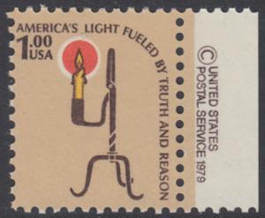 USA Michel 1391 / Scott 1610 postfrisch EINZELMARKE RAND rechts m/ copyright symbol - Americana-Ausgabe: Kerzenhalter aus der Pionierzeit