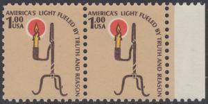 USA Michel 1391 / Scott 1610 postfrisch horiz.PAAR RAND rechts - Americana-Ausgabe: Kerzenhalter aus der Pionierzeit