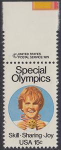 USA Michel 1392 / Scott 1788 postfrisch EINZELMARKE RAND oben m/ copyright symbol - Special Olympics, Brockport, NY