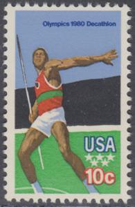 USA Michel 1395 / Scott 1790 postfrisch EINZELMARKE - Olympische Sommerspiele 1980, Moskau: Zehnkampf, Speerwurf