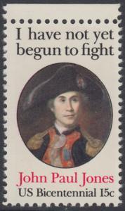 USA Michel 1397 / Scott 1789 postfrisch EINZELMARKE RAND oben - John Paul Jones (1747-1792), Held der Amerikanischen Revolution