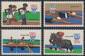 USA Michel 1398-1401 / Scott 1791-1794 postfrisch SATZ(4) EINZELMARKEN - Olympische Sommerspiele 1980, Moskau