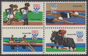 USA Michel 1398-1401 / Scott 1791-1794 postfrisch BLOCK - Olympische Sommerspiele 1980, Moskau