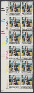USA Michel 1402 / Scott 1799 postfrisch vert.PLATEBLOCK(12) ECKRAND unten links m/ Platten-# 38944 - Weihnachten: Madonna mit Kind