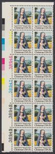 USA Michel 1402 / Scott 1799 postfrisch vert.PLATEBLOCK(12) ECKRAND oben links m/ Platten-# 38944 - Weihnachten: Madonna mit Kind