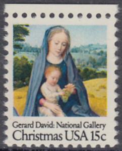 USA Michel 1402 / Scott 1799 postfrisch EINZELMARKE RAND oben - Weihnachten: Madonna mit Kind