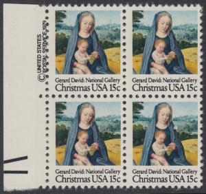 USA Michel 1402 / Scott 1799 postfrisch BLOCK RÄNDER links m/ copyright symbol - Weihnachten: Madonna mit Kind