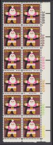 USA Michel 1403 / Scott 1800 postfrisch vert.PLATEBLOCK(12) ECKRAND unten rechts m/ Platten-# 38880 - Weihnachten: Santa Claus