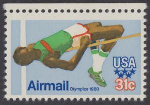USA Michel 1405 / Scott C097 postfrisch EINZELMARKE RAND oben - Olympische Sommerspiele 1980, Moskau; Hochsprung