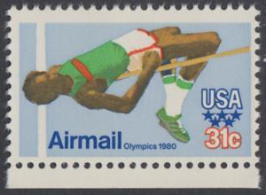 USA Michel 1405 / Scott C097 postfrisch EINZELMARKE RAND unten - Olympische Sommerspiele 1980, Moskau; Hochsprung