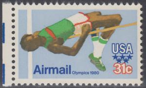 USA Michel 1405 / Scott C097 postfrisch EINZELMARKE RAND links - Olympische Sommerspiele 1980, Moskau; Hochsprung