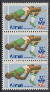 USA Michel 1405 / Scott C097 postfrisch vert.STRIP(3) - Olympische Sommerspiele 1980, Moskau; Hochsprung
