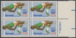 USA Michel 1405 / Scott C097 postfrisch BLOCK RÄNDER rechts m/ copyright symbol (a2) - Olympische Sommerspiele 1980, Moskau; Hochsprung
