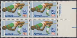 USA Michel 1405 / Scott C097 postfrisch BLOCK RÄNDER rechts m/ copyright symbol (a3) - Olympische Sommerspiele 1980, Moskau; Hochsprung