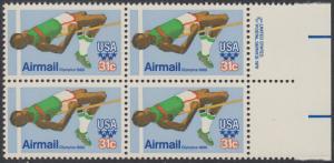 USA Michel 1405 / Scott C097 postfrisch BLOCK RÄNDER rechts m/ copyright symbol (a1) - Olympische Sommerspiele 1980, Moskau; Hochsprung