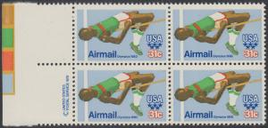 USA Michel 1405 / Scott C097 postfrisch BLOCK RÄNDER links m/ copyright symbol (a1) - Olympische Sommerspiele 1980, Moskau; Hochsprung
