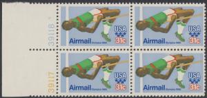 USA Michel 1405 / Scott C097 postfrisch BLOCK RÄNDER links m/ Platten-# 39117 - Olympische Sommerspiele 1980, Moskau; Hochsprung
