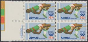 USA Michel 1405 / Scott C097 postfrisch BLOCK RÄNDER links m/ copyright symbol (a3) - Olympische Sommerspiele 1980, Moskau; Hochsprung