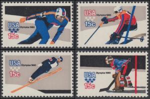 USA Michel 1411-1414 / Scott 1795-1798 postfrisch SATZ(4) EINZELMARKEN - Olympische Winterspiele, Lake Placid, NY