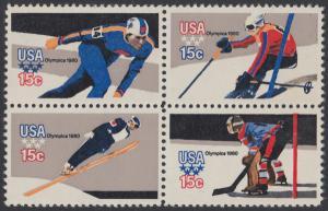 USA Michel 1411-1414 / Scott 1795-1798 postfrisch BLOCK - Olympische Winterspiele, Lake Placid, NY