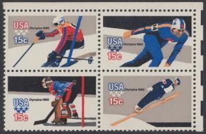 USA Michel 1411-1414 / Scott 1795-1798 postfrisch BLOCK ECKRAND oben rechts - Olympische Winterspiele, Lake Placid, NY