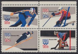 USA Michel 1411-1414 / Scott 1795-1798 postfrisch BLOCK RÄNDER oben - Olympische Winterspiele, Lake Placid, NY