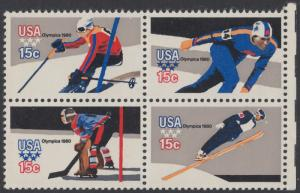 USA Michel 1411-1414 / Scott 1795-1798 postfrisch BLOCK RÄNDER rechts - Olympische Winterspiele, Lake Placid, NY