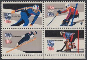 USA Michel 1411-1414 / Scott 1795-1798 postfrisch BLOCK RÄNDER unten - Olympische Winterspiele, Lake Placid, NY