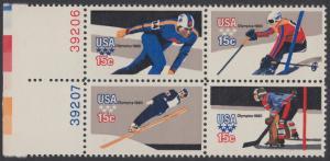USA Michel 1411-1414 / Scott 1795-1798 postfrisch BLOCK RÄNDER links m/ Platten-# 39206 - Olympische Winterspiele, Lake Placid, NY