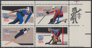 USA Michel 1411-1414 / Scott 1795-1798 postfrisch ZIP-BLOCK (ur) - Olympische Winterspiele, Lake Placid, NY