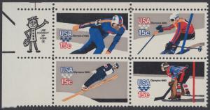 USA Michel 1411-1414 / Scott 1795-1798 postfrisch ZIP-BLOCK (ul) - Olympische Winterspiele, Lake Placid, NY