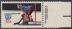USA Michel 1414 / Scott 1798 postfrisch EINZELMARKE RAND rechts m/ copyright symbol - Olympische Winterspiele, Lake Placid, NY; Eishockey