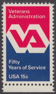 USA Michel 1432 / Scott 1825 postfrisch EINZELMARKE RAND unten - 50 Jahre Veteranenverwaltung