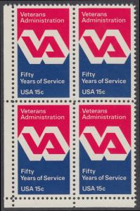 USA Michel 1432 / Scott 1825 postfrisch BLOCK ECKRAND unten links - 50 Jahre Veteranenverwaltung