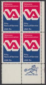 USA Michel 1432 / Scott 1825 postfrisch ZIP-BLOCK (lr) - 50 Jahre Veteranenverwaltung