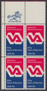 USA Michel 1432 / Scott 1825 postfrisch ZIP-BLOCK (ul) - 50 Jahre Veteranenverwaltung
