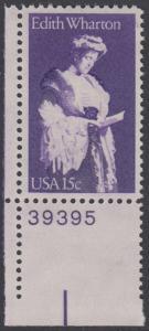 USA Michel 1439 / Scott 1832 postfrisch EINZELMARKE ECKRAND unten links m/ Platten-# 39395 - Edith Wharton, Schriftstellerin