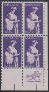 USA Michel 1439 / Scott 1832 postfrisch ZIP-BLOCK (lr) - Edith Wharton, Schriftstellerin