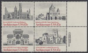 USA Michel 1445-1448 / Scott 1838-1441 postfrisch BLOCK RÄNDER rechts m/ copyright symbol - Amerikanische Architektur