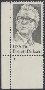 USA Michel 1455 / Scott 1874 postfrisch EINZELMARKE ECKRAND unten links m/ Platten-# 7 - Everett Dirksen (1896-1969), Politiker