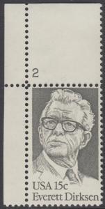 USA Michel 1455 / Scott 1874 postfrisch EINZELMARKE ECKRAND oben links m/ Platten-# 2 - Everett Dirksen (1896-1969), Politiker