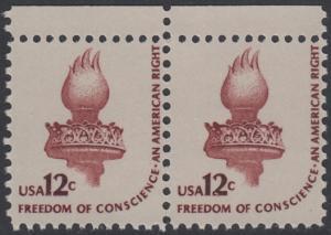 USA Michel 1458A / Scott 1594 postfrisch horiz.PAAR RÄNDER oben - Americana-Ausgabe: Fackel der Freiheitsstatue
